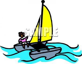 Royalty Free Clip Art Image: Person Sailing a Catamaran.