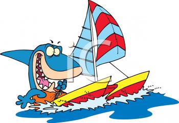 Royalty Free Clip Art Image: Cartoon Shark Sailing a Catamaran.
