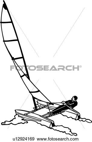 Clip Art of , boat, catamaran, sailboat, sailing, sport, ship.