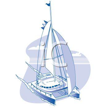 Realistic Catamaran Sailboat.