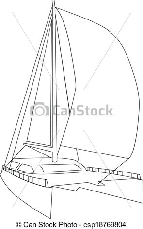 Vector Clipart of Sailing Catamaran csp18769804.