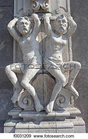 Stock Photograph of Italy, Sicily, Catania, detail of a facade.