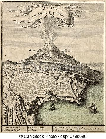 Stock Illustration of Catania and Etna.