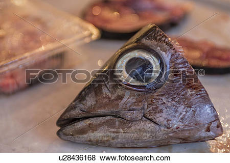 Pictures of Fish head detail, Catania Fish market, Sicily, Italy.