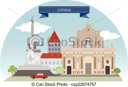 Clipart Vector of Catania, Italy.