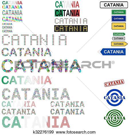Clip Art of Catania text design set k32276199.