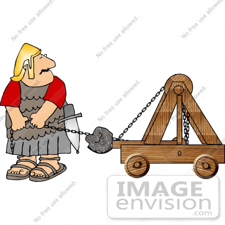 Roman Soldier Launching a Rock With a Catapult Clipart.