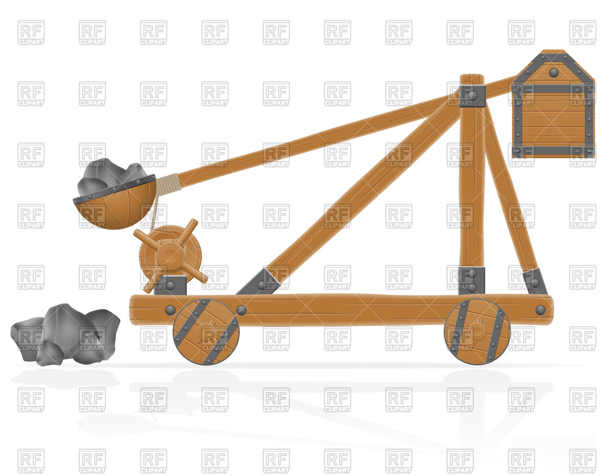 Medieval wooden catapult Vector Image #98260.