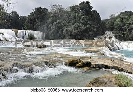 "Stock Image of ""Cataratas de Agua Azul, Blue."