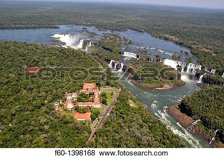 Pictures of Aerial view of Iguazu Falls, Hotel das Cataratas on.