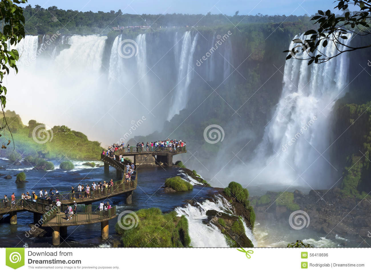 Tourists At Iguazu Falls, Foz Do Iguacu, Brazil Editorial Photo.