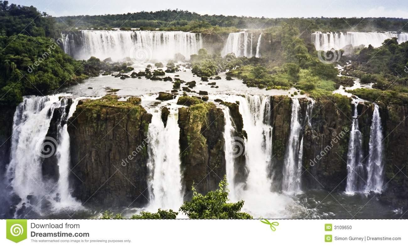 Iguazu Falls Waterfall Brazil Stock Photo.
