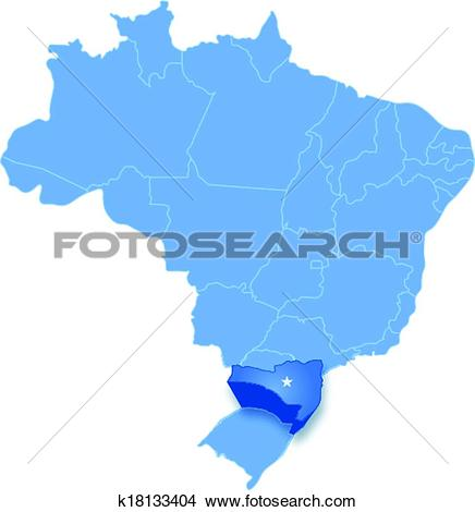 Clipart of Map of Brazil where Santa Catarina is pulled out.
