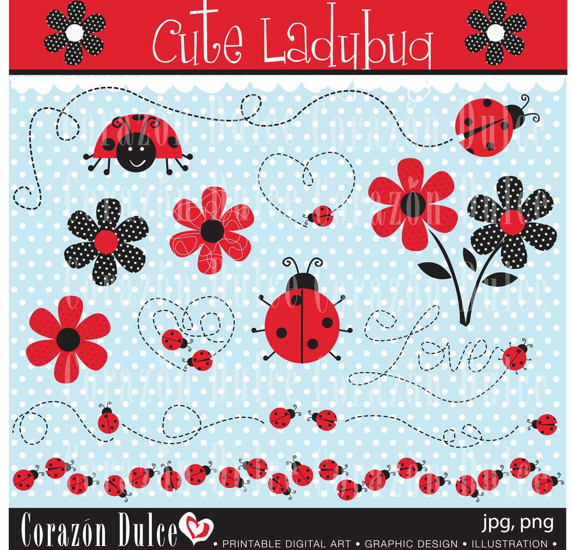 Cute ladybug Digital Clip Art Set Personal and by corazondulce.