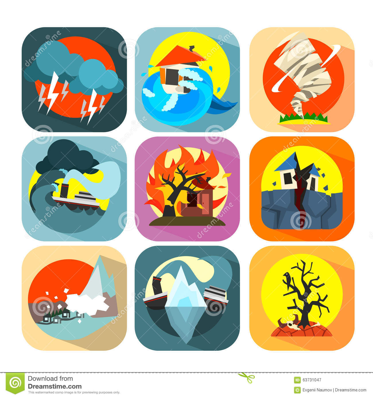 Natural Disaster Catastrophe Icons Set Stock Vector.