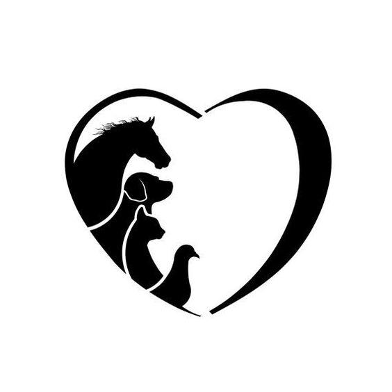 Clipart Horse Dog Cat Bird Love Heart. Concept of animal love.
