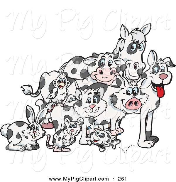 Swine Clipart of a Rabbit, Mouse, Fish, Cat, Bird, Pig, Dog, Cow.