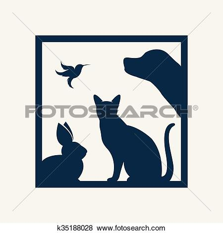 Clip Art of Vector group of pets in the frame.