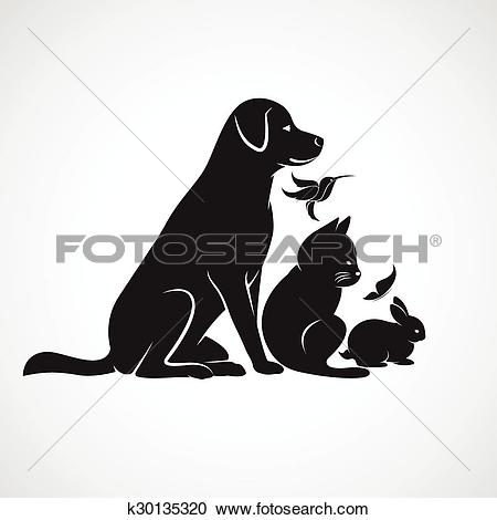 Clipart of Vector group of pets.