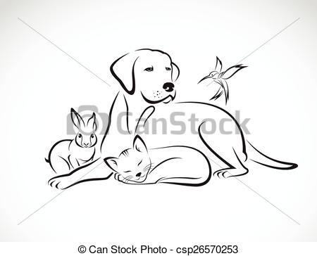 Clipart Vector of Vector group of pets.