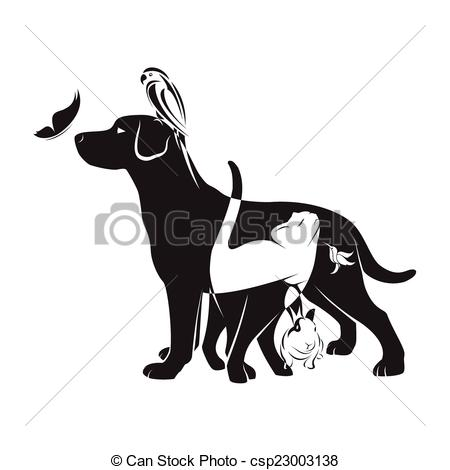 Clipart of dog cat bird rabbit black and white.
