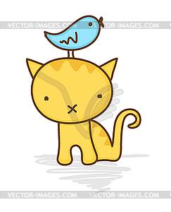 Cat and bird clipart.