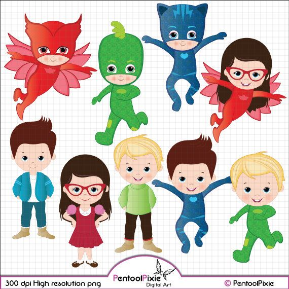 Pj Masks clipart, Catboy, Gekko, Owlette, Connor, Greg, Amaya.