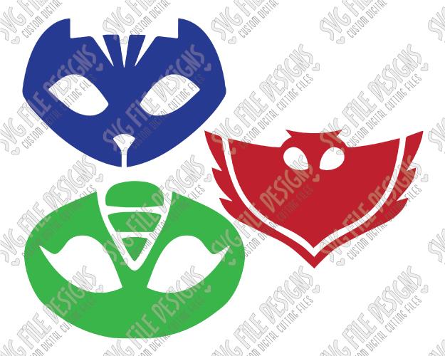 PJ Masks Cut File Set in SVG, EPS, DXF, JPEG, and PNG.