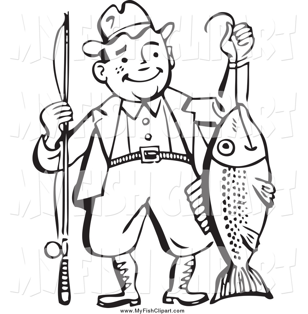 Clip Art of a Black and White Man Proudly Holding His Catch Fish.