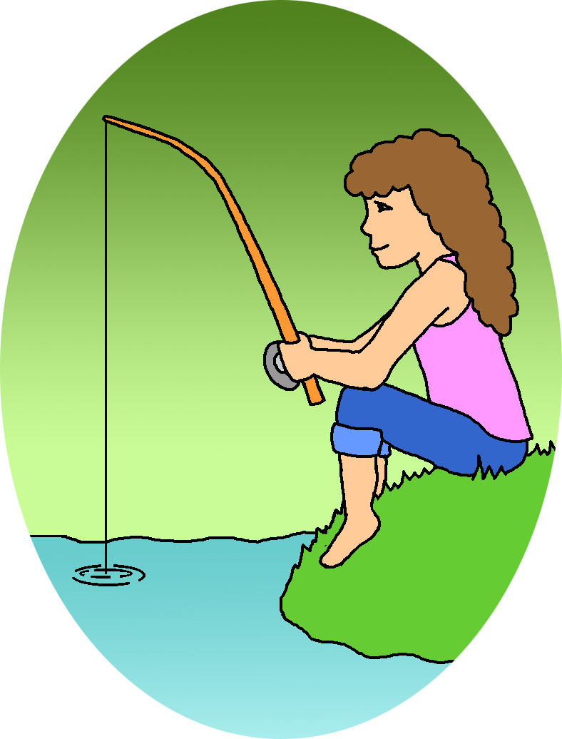 Woman fishing in a boat catching fish clipart.