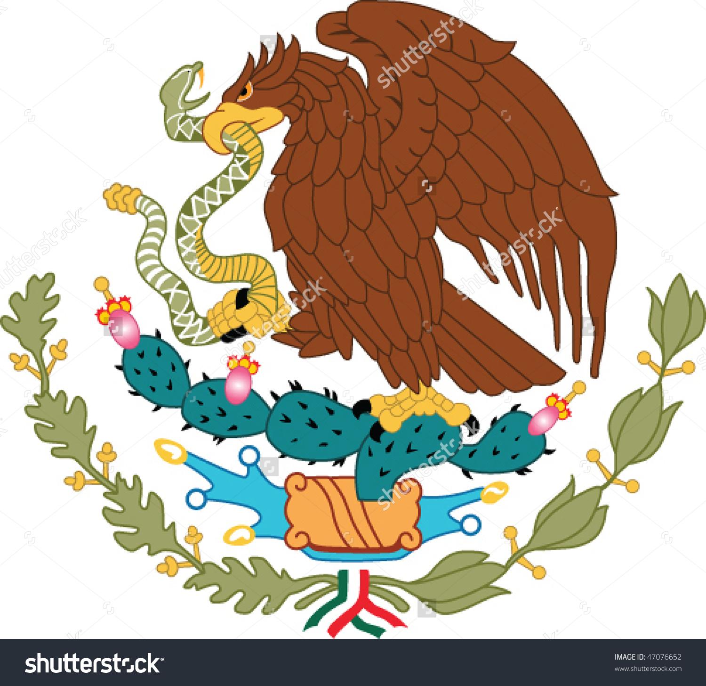 Mexico National Emblem Golden Eagle Catch Stock Vector 47076652.