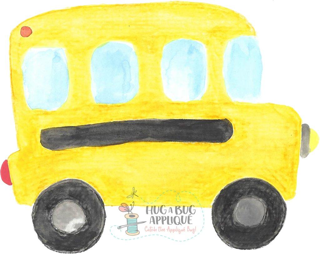 School Bus Watercolor Clipart.