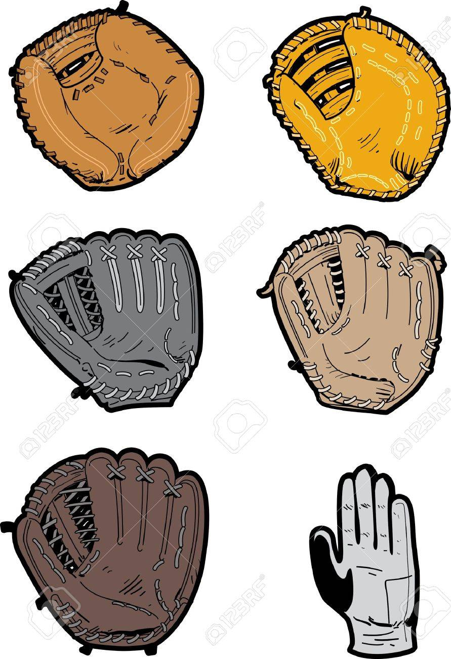 Six Assorted Professional Baseball Glove Types: switch thrower's...