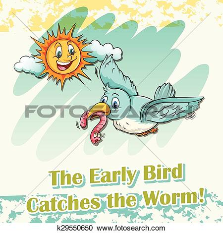 Clipart of Early bird catches the worm k29550650.