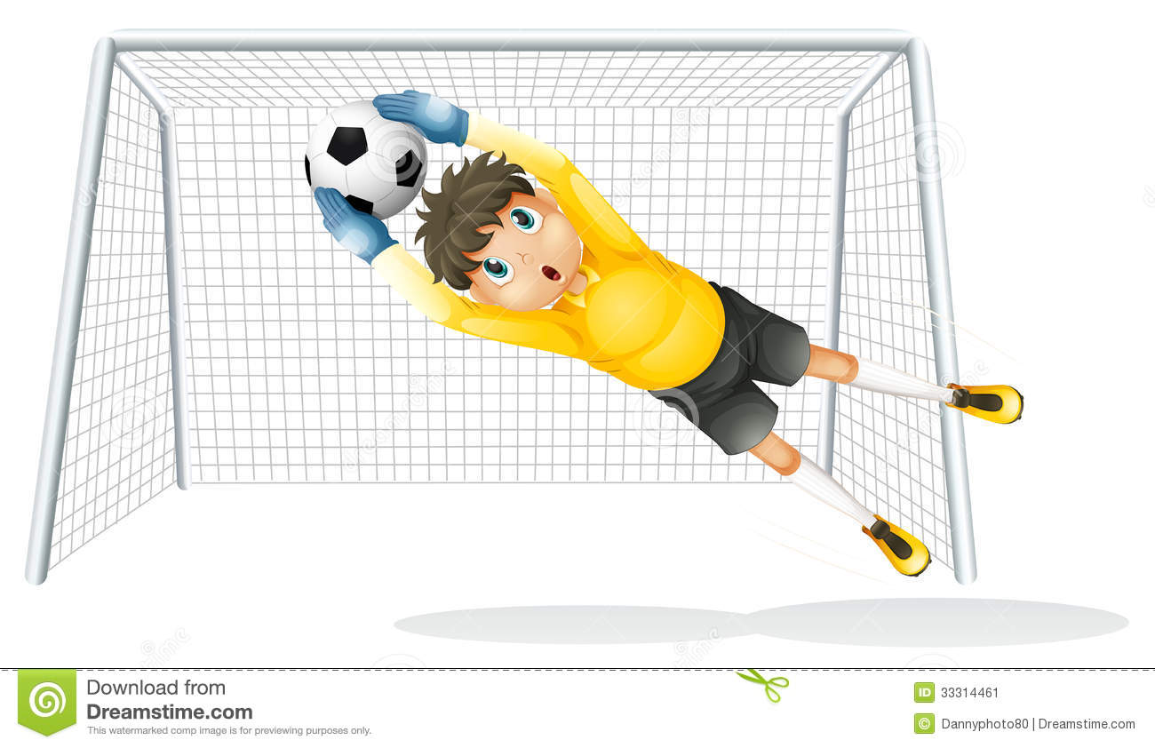 A Boy Practicing To Catch The Soccer Ball Stock Image.
