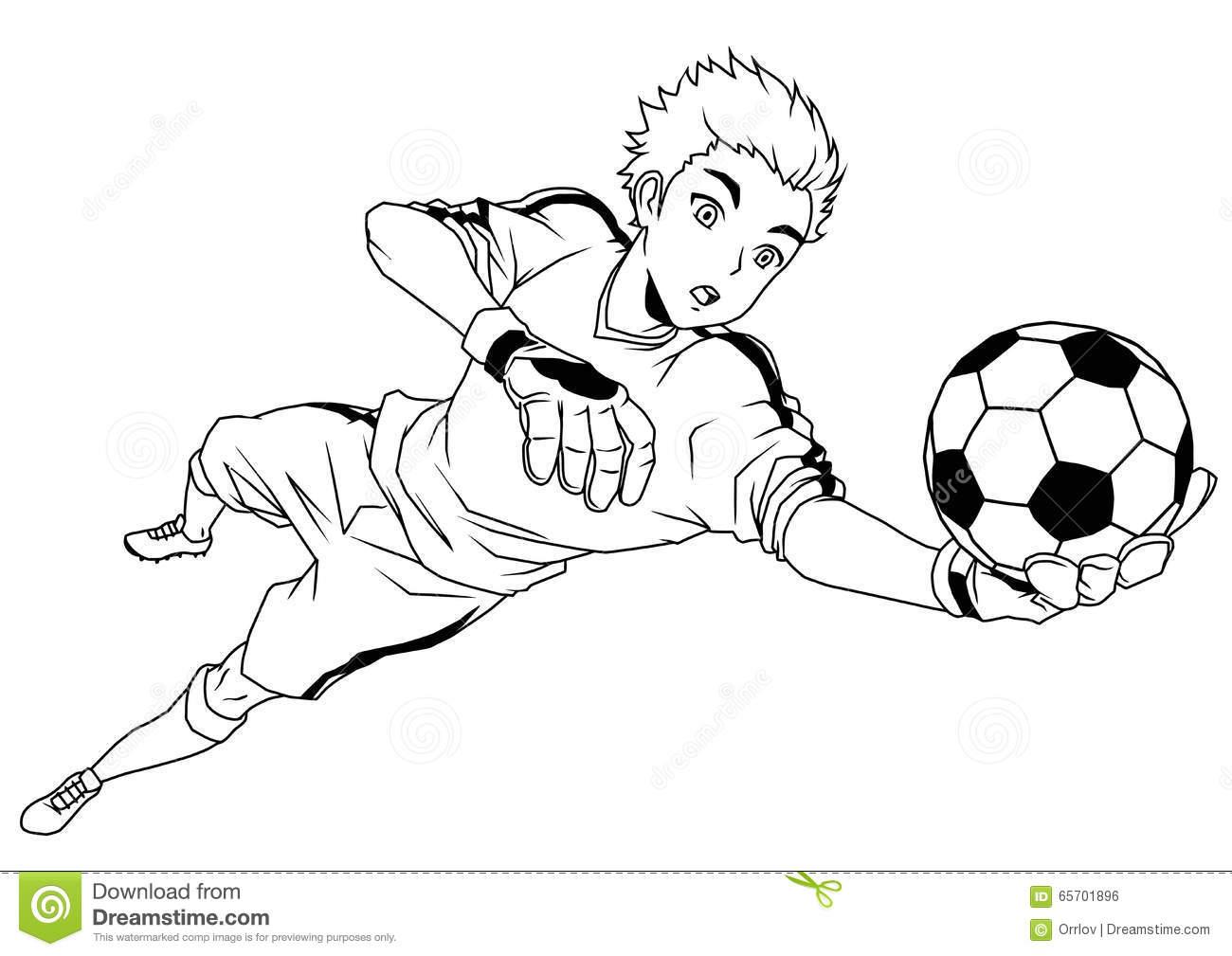 Football Soccer Goalkeeper Catches The Ball Stock Vector.