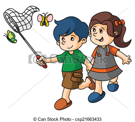 Vectors of Boy and Girl catch butterfly csp21663433.