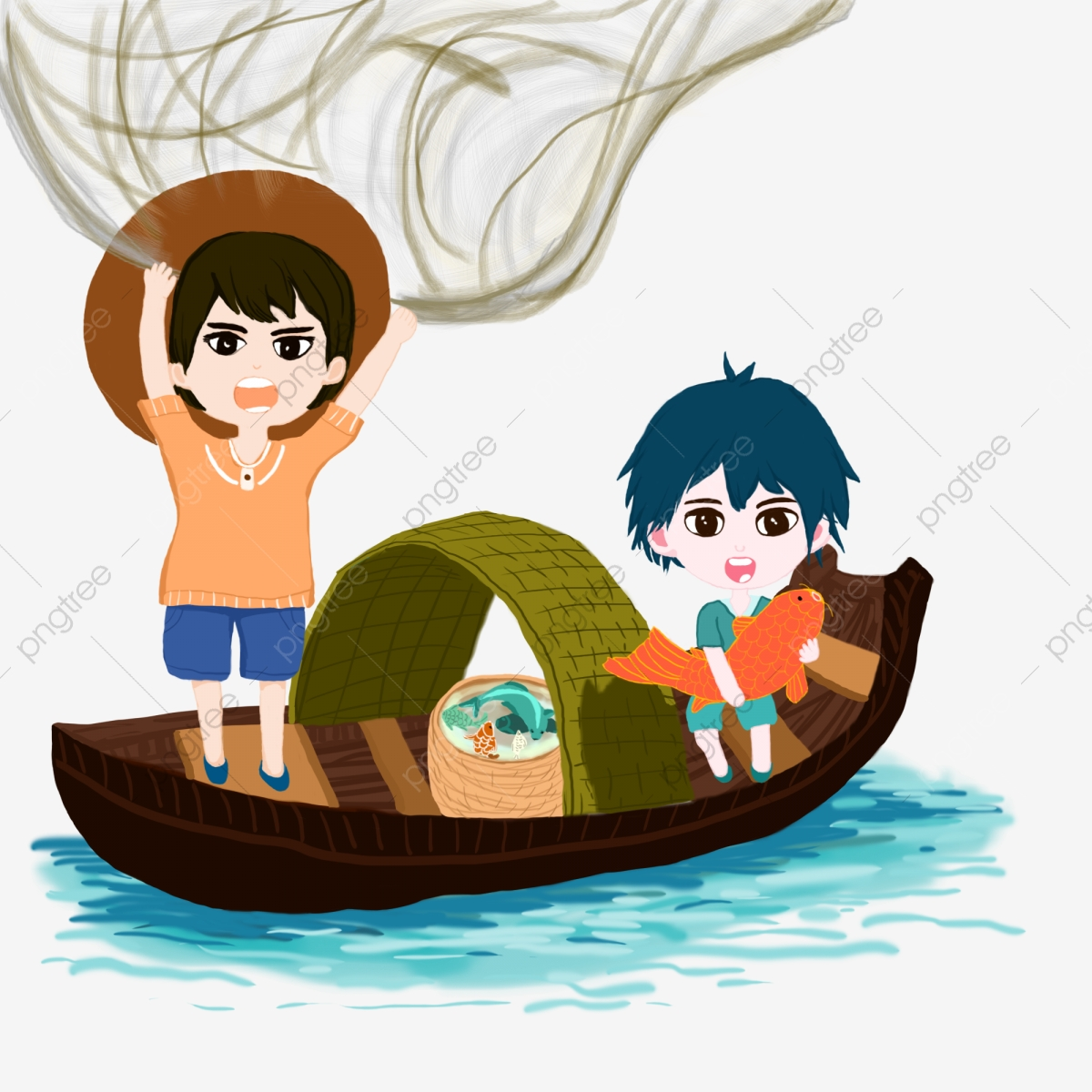 Summer Lake Fishing Boy, Fishing, Net, Catching Fish PNG Transparent.