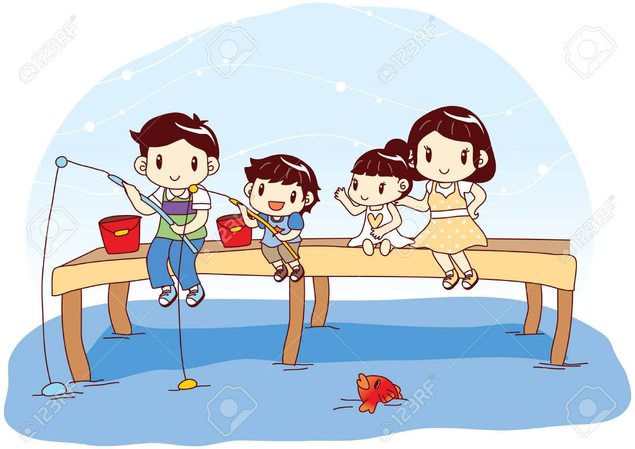 family catching fish with fishing rod.
