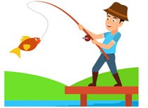 Man catching fish with rod clipart » Clipart Portal.