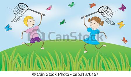 girl and boy catch butterflies.