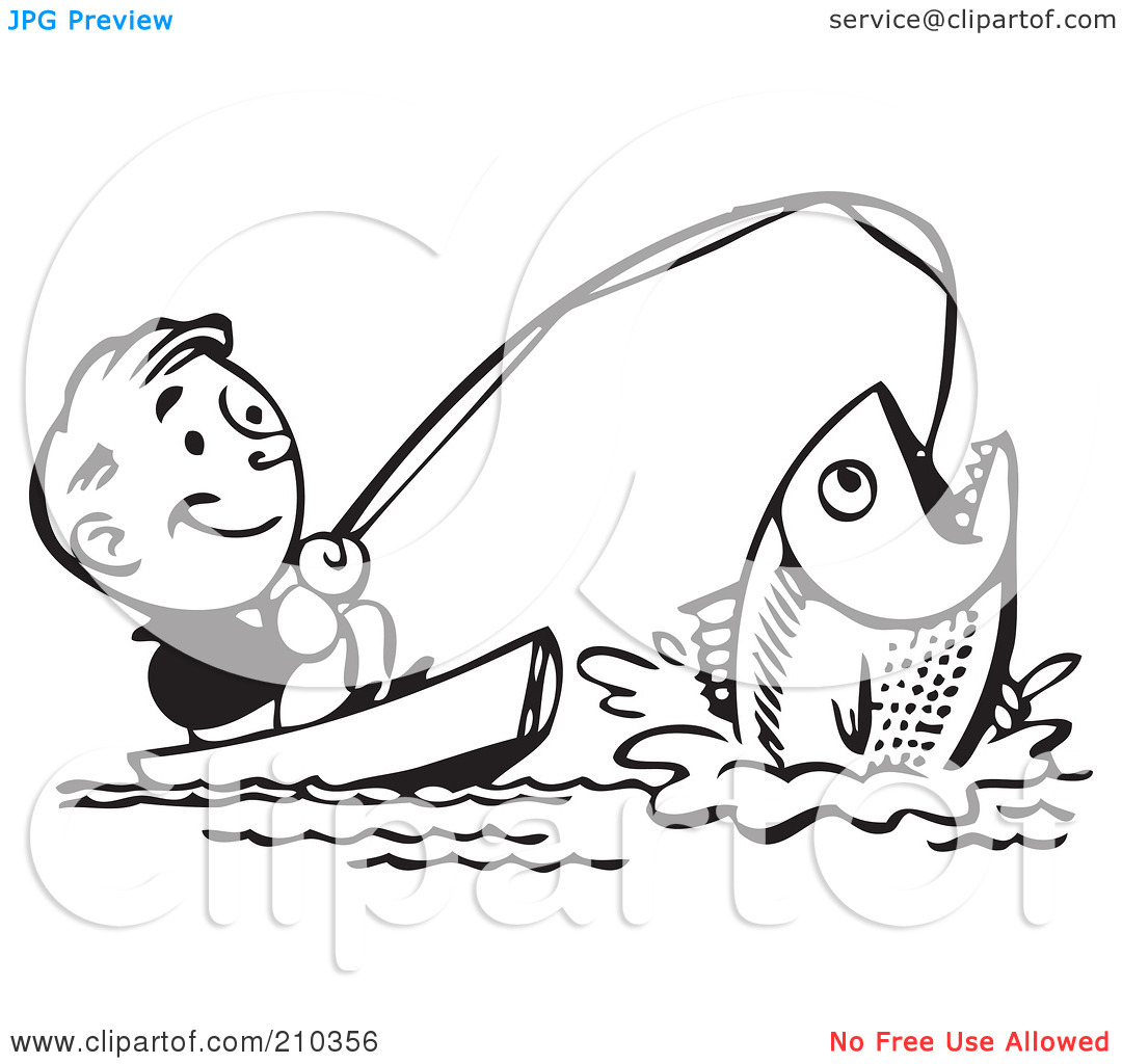 Catching fish clipart #11