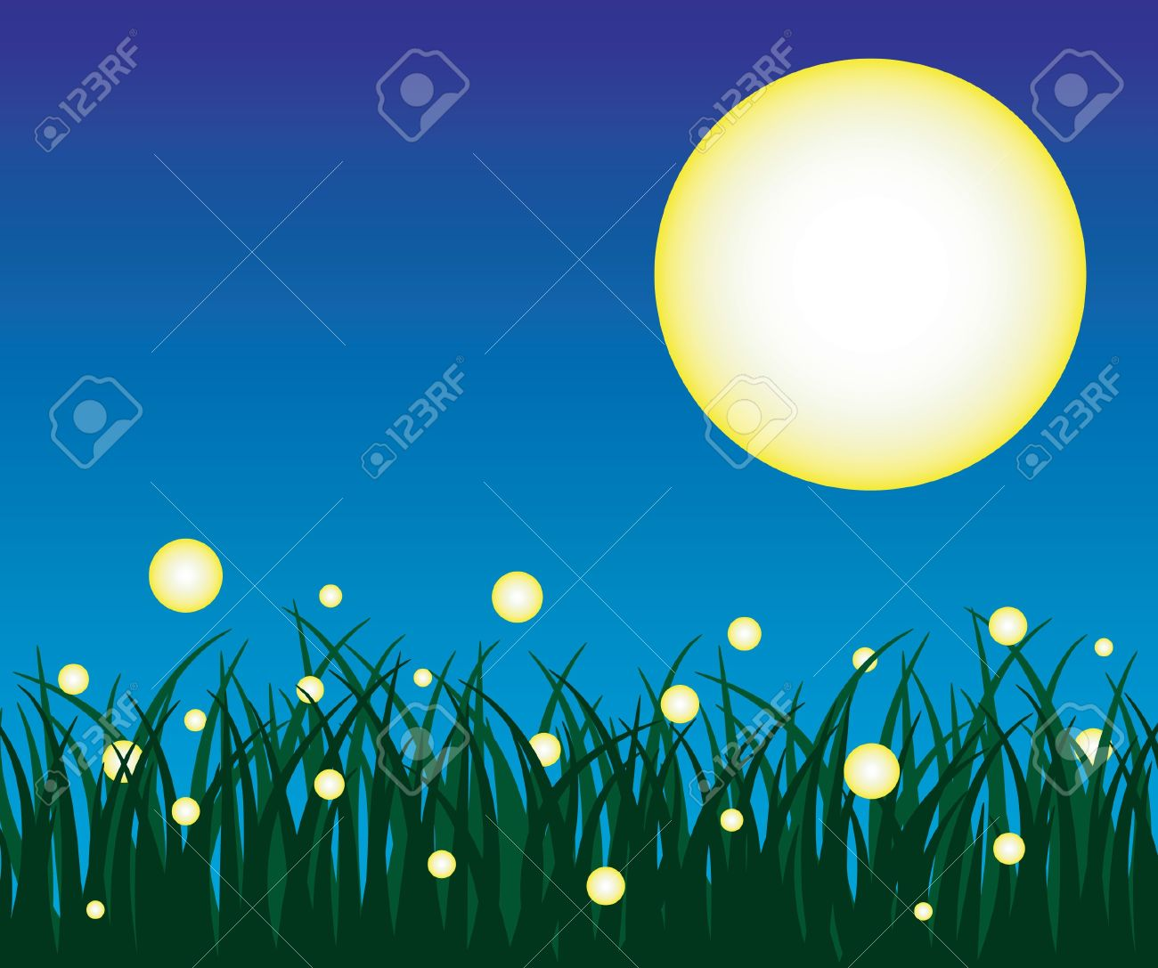 Firefly And Grass With Background Royalty Free Cliparts, Vectors.
