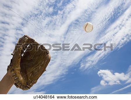 Stock Photo of Hand in baseball glove catching ball u14048164.