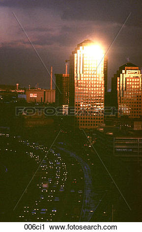 Stock Photography of Sunlight Catching the World Trade Centre.
