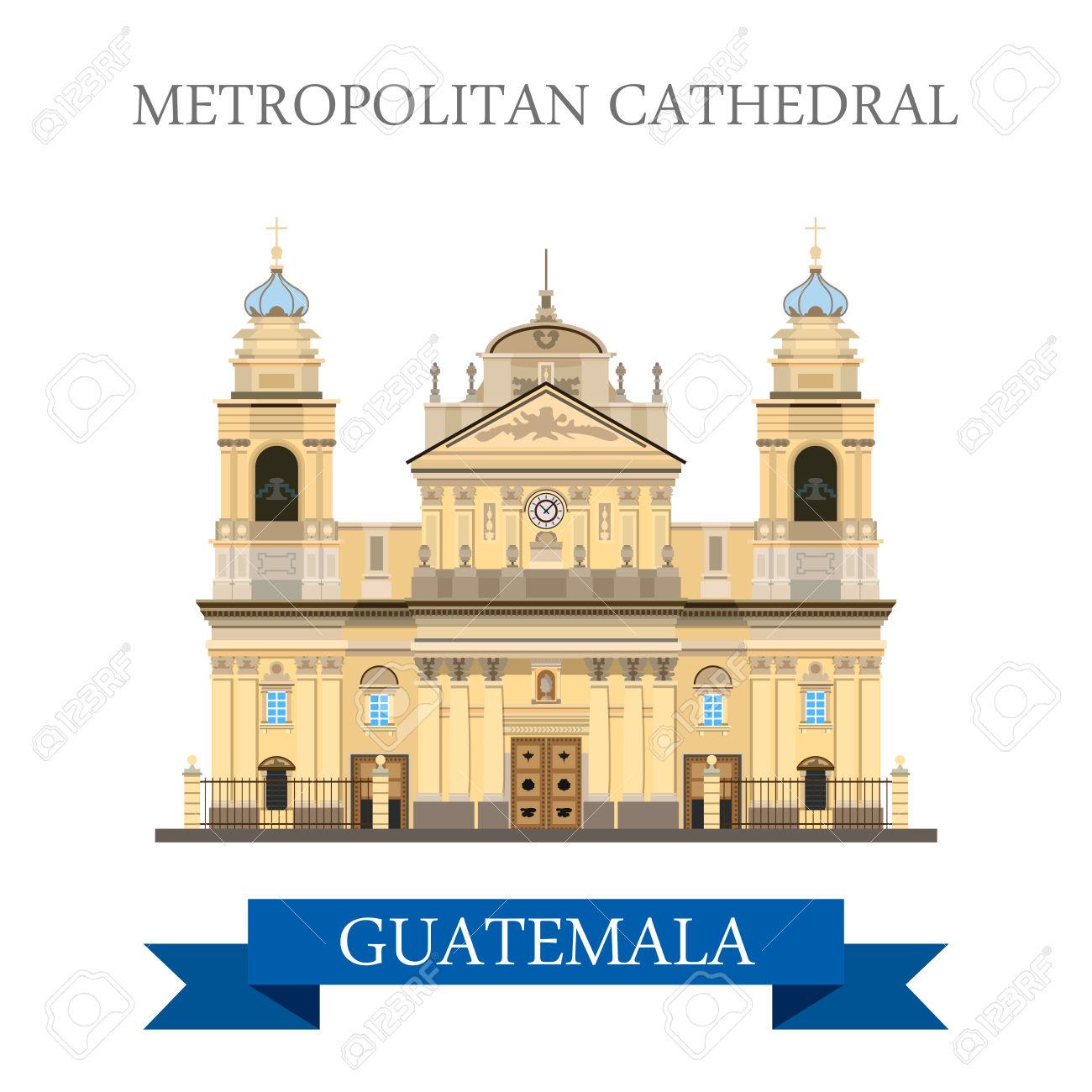 Catedral Metropolitana De Santiago En Guatemala. Estilo De Dibujos.