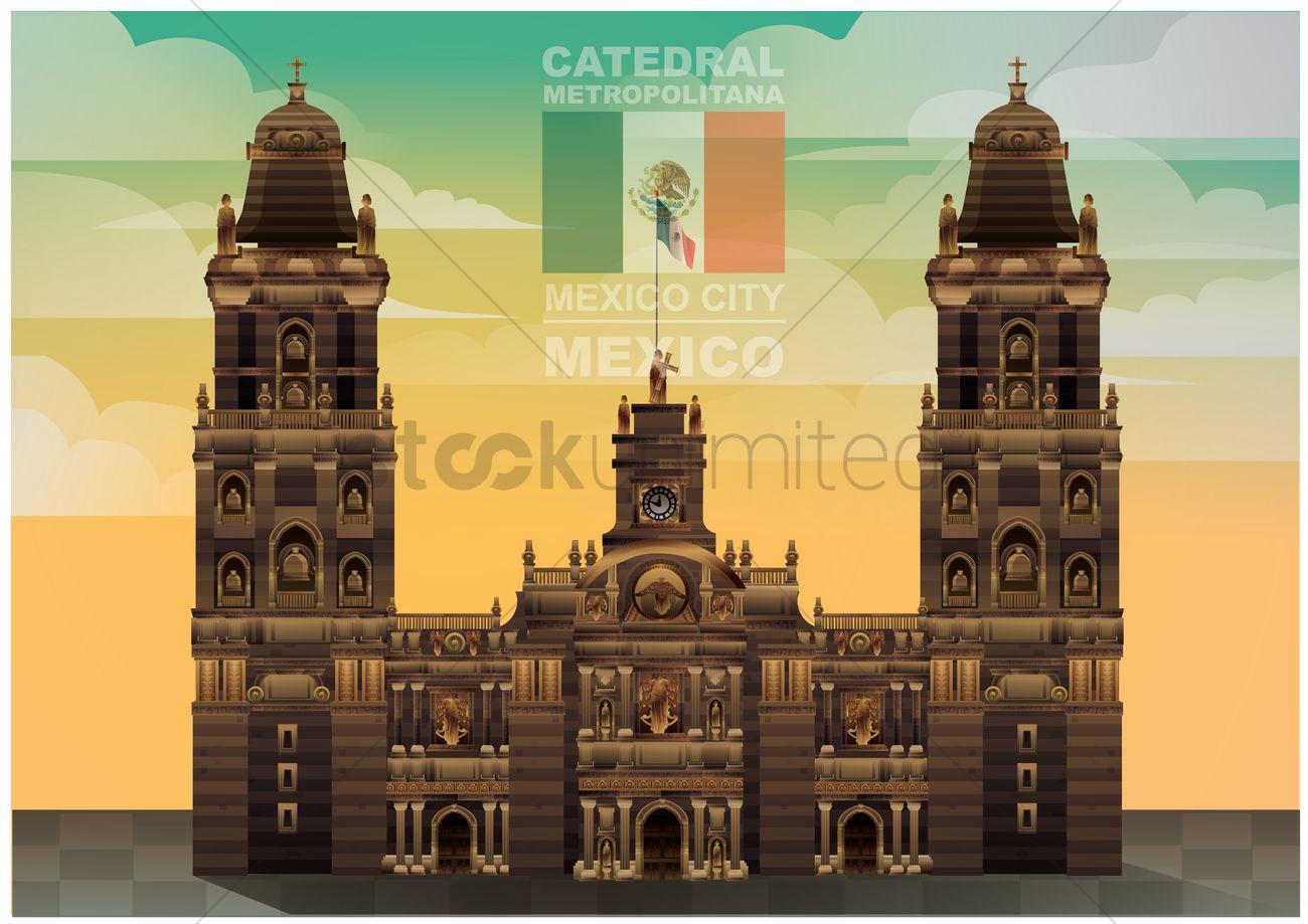 Catedral metropolitana wallpaper Vector Image.