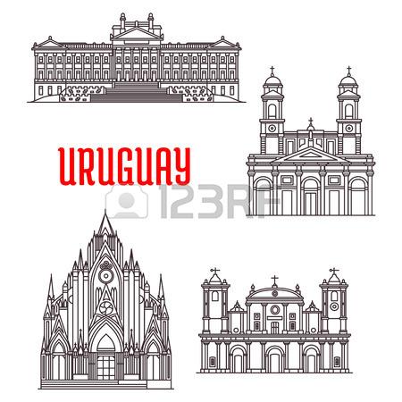Las Señales Del Recorrido Uruguayos Icono Con Monumentos.
