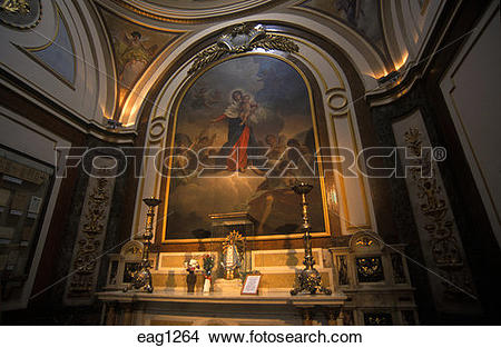 Stock Photo of PAINTING of JESUS & MARY in the CATEDRAL.
