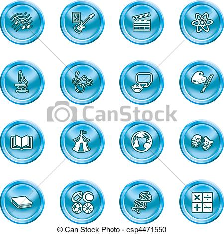 Vector Clipart of subject category icon set.